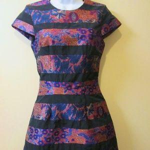 H&M DRESSY DRESS, SIZE 2, BLACK COTTON STRIPES